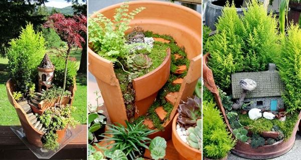 décorer son jardin avec des objets de récupération maison de fée