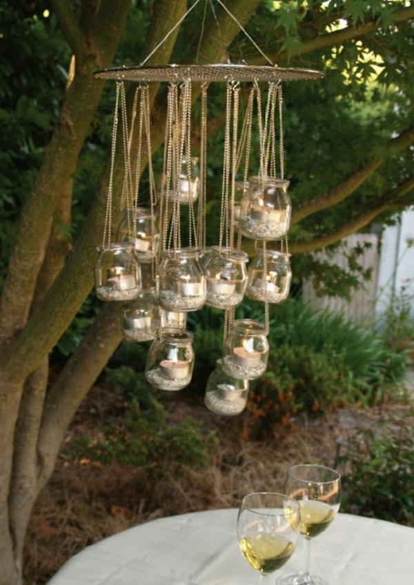 décorer son jardin avec des objets de récupération mason jar