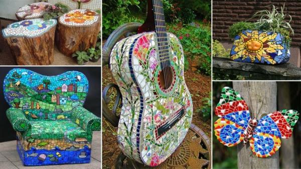 décorer son jardin avec des objets de récupération mosaïque