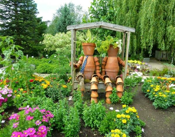 décorer son jardin avec des objets de récupération pots de plantes en terre cuite