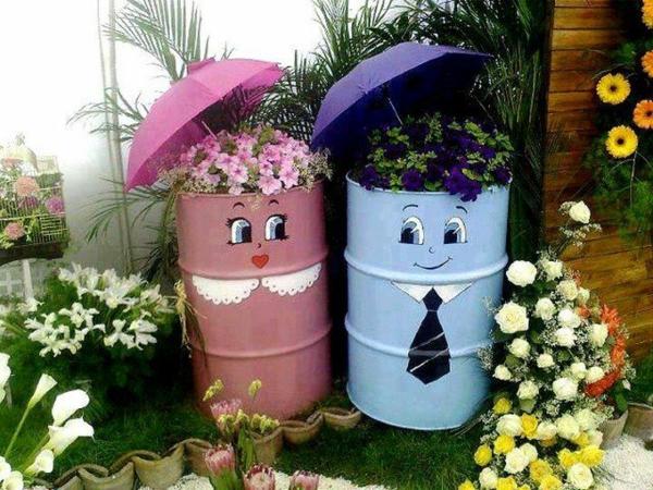décorer son jardin avec des objets de récupération réservoir à essence