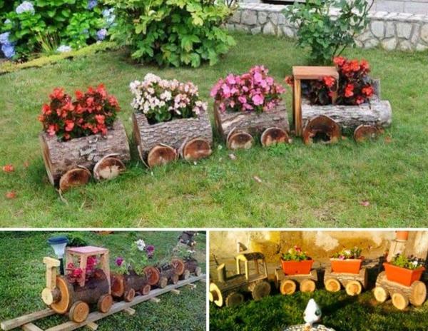 décorer son jardin avec des objets de récupération train en rondins