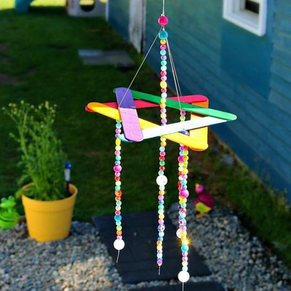 diy carillon éolien bâtonnets de glace perles