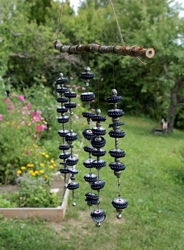 diy carillon éolien bois et bouchons métalliques