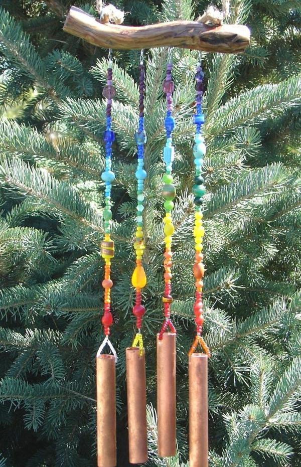 diy carillon éolien bois flotté perles bambou