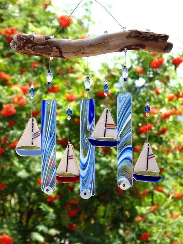diy carillon éolien bois flotté varre peint