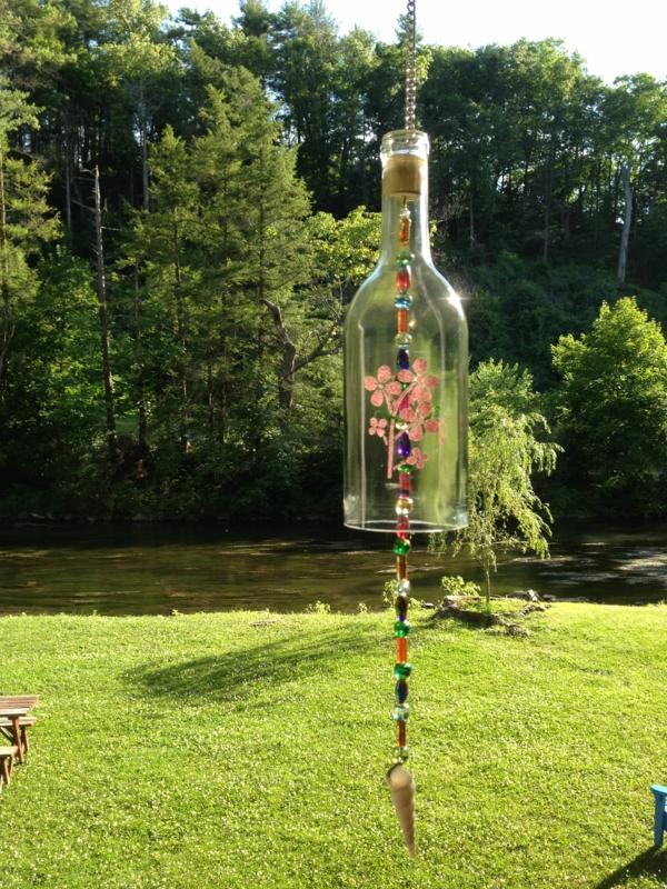 diy carillon éolien bouteille en verre perles décoratives