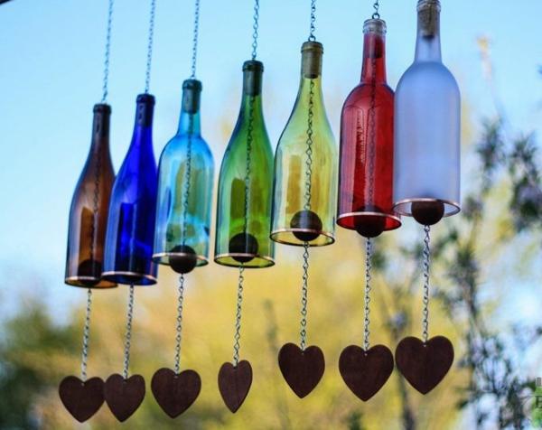 diy carillon éolien bouteilles en verre chaînes bois