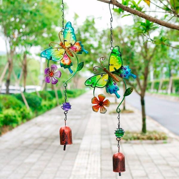 diy carillon éolien cloches en laiton papillons en verre et métal