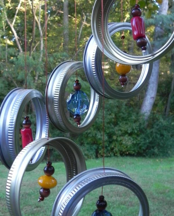diy carillon éolien couvercles bocaux métal perles