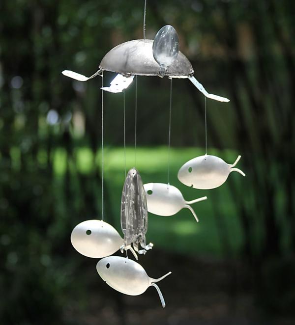 diy carillon éolien couverts argentés
