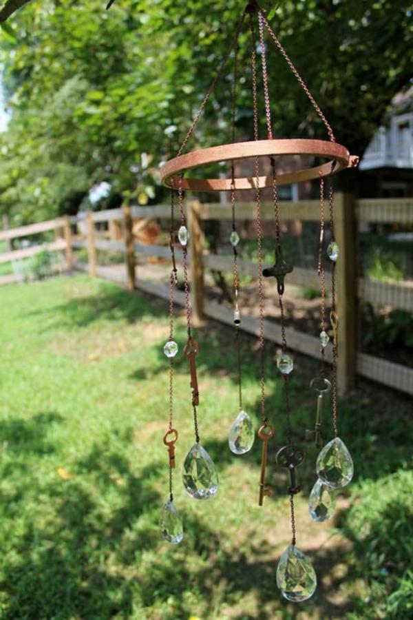 diy carillon éolien métal clés perles en verre