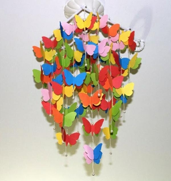 diy carillon éolien papillons colorés en métal