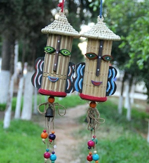 diy carillon éolien sets de table rotin cloches perles