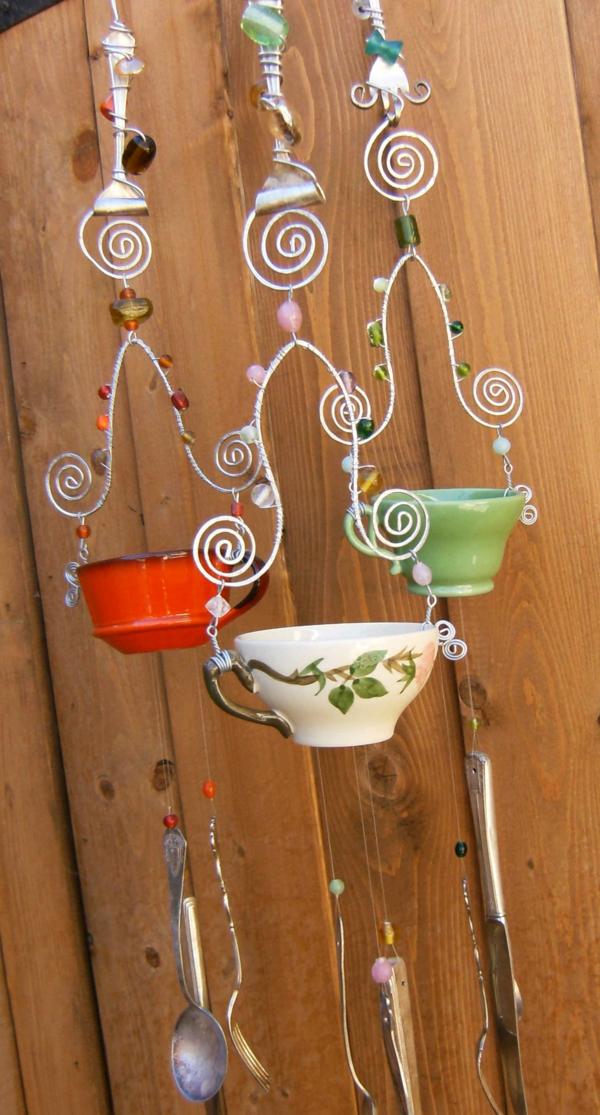 diy carillon éolien tasses à café couverts