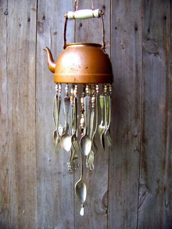 diy carillon éolien théière vintage en métal couverts en argent
