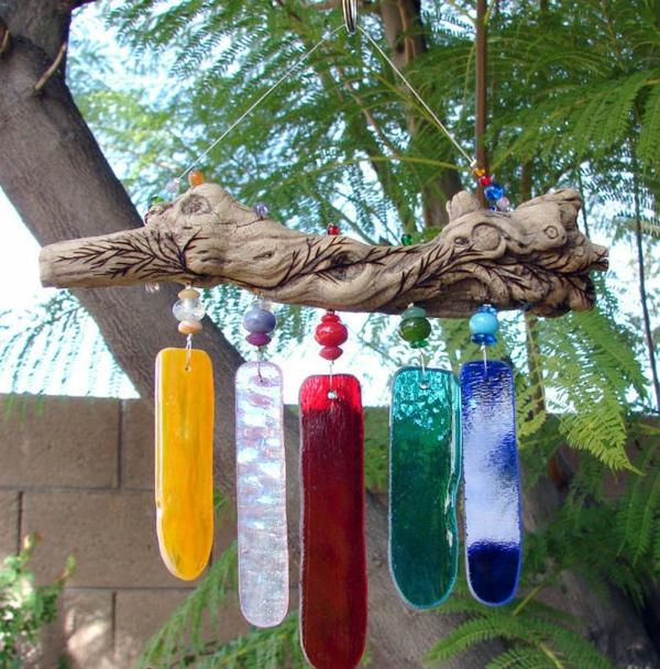 diy carillon éolien verre peint bois