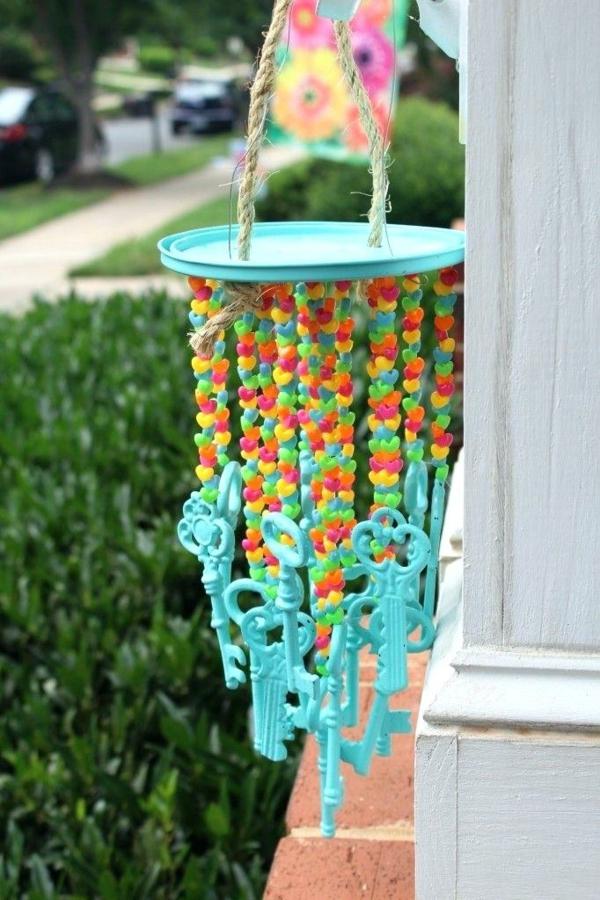 diy carillon éolien vintage clés peintes perles colorées