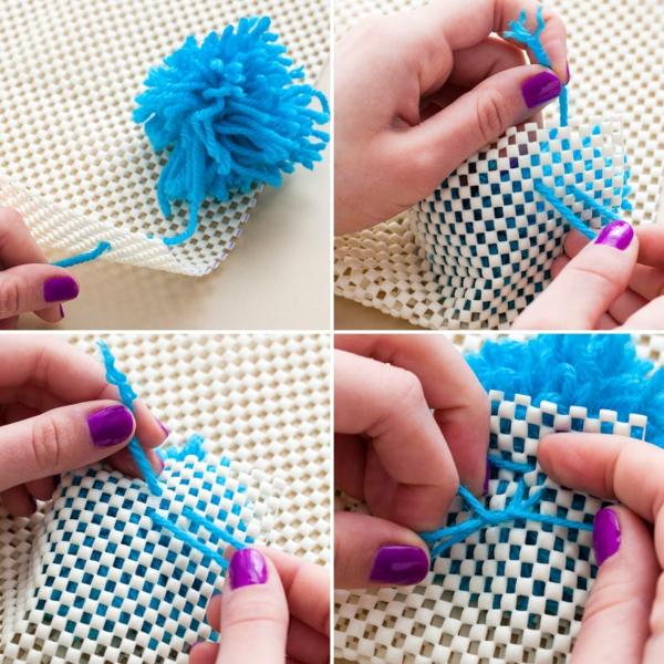 diy tapis pompon toile canevas