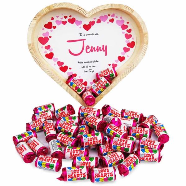 fête Saint-Valentin plateau en forme de coeur