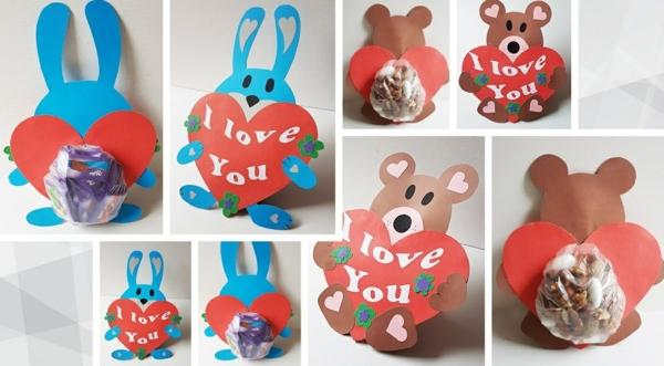 idée cadeau saint valentin fait main animal en carton avec friandises