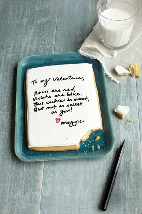 idée cadeau saint valentin fait main biscuit glaçé avec message