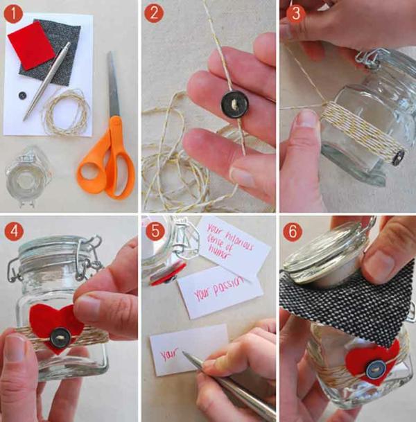idée cadeau saint valentin fait main bocal plein de messages personnalisés