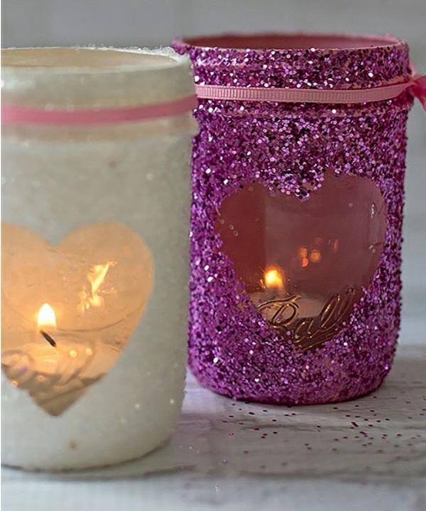 idée cadeau saint valentin fait main bougeoir décoré mason jar