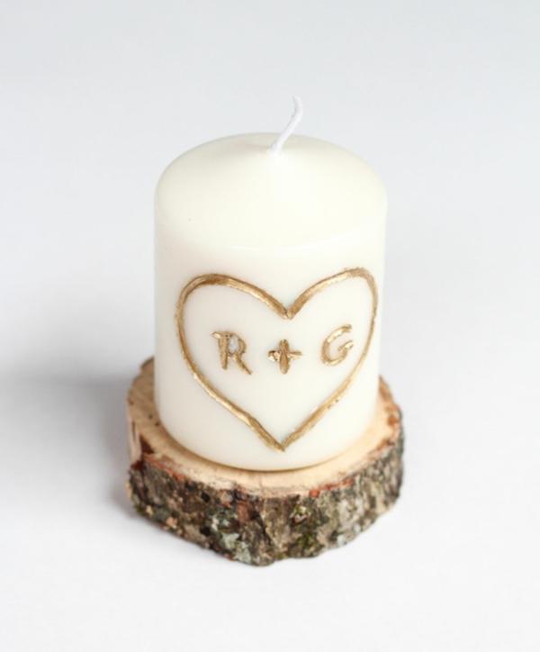 idée cadeau saint valentin fait main bougie avec initiales