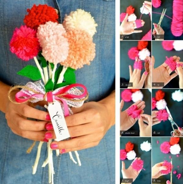 idée cadeau saint valentin fait main bouquet de fleurs en pompons