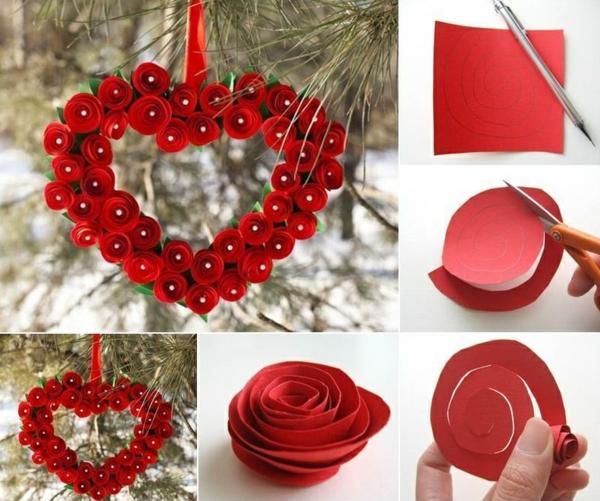idée cadeau saint valentin fait main couronne de fleurs origami