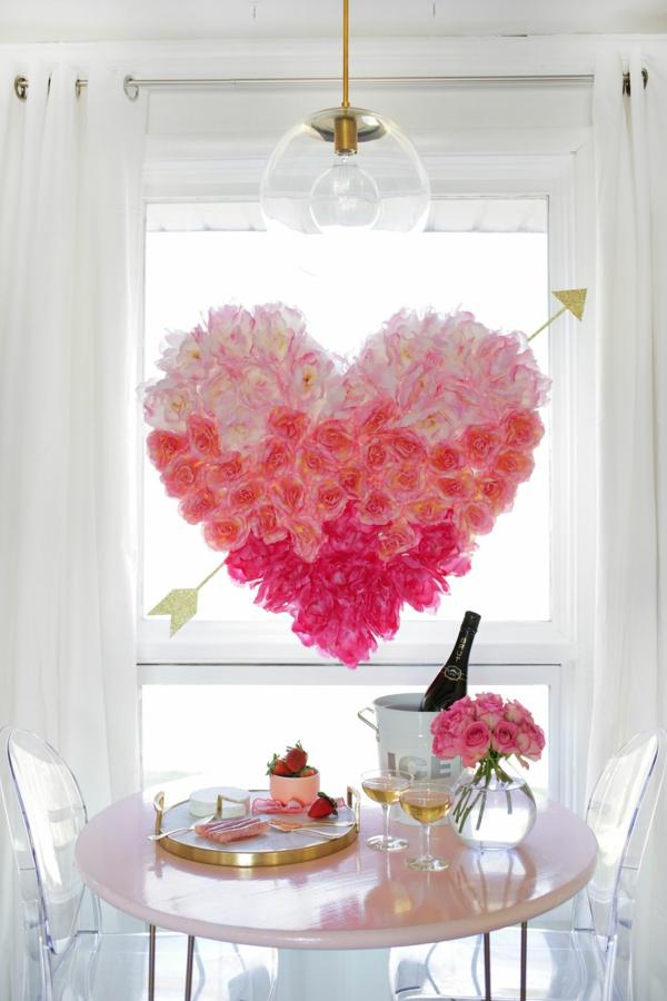 idée cadeau saint valentin fait main déco fenêtre fleurs en papier