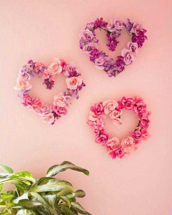 idée cadeau saint valentin fait main déco murale fleurs artificielles