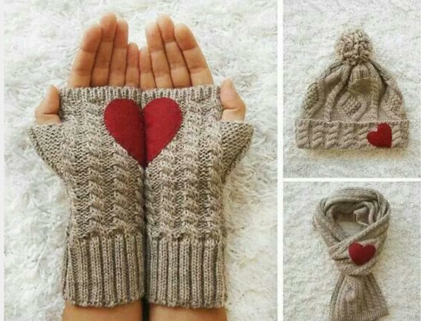 idée cadeau saint valentin fait main gants chapeau écharpe en tricot