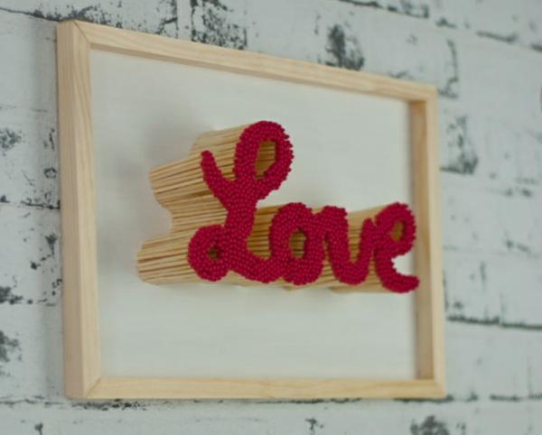 idée cadeau saint valentin fait main tableau décoratif allumettes