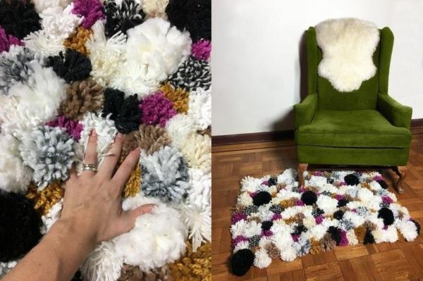 idée déco salon tapis pompon