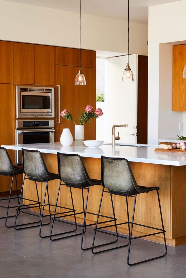 meuble cuisine design bois et marbre