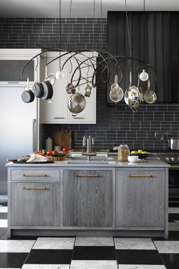 meuble cuisine design carrelage noir et blanc