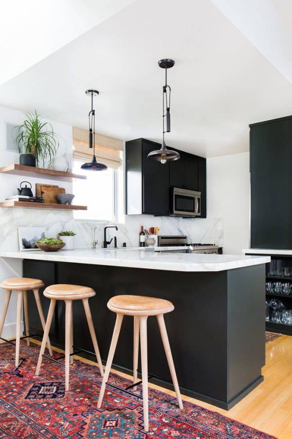 meuble cuisine design en noir et blanc