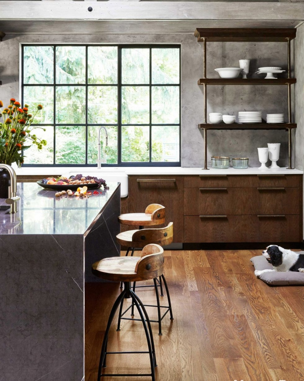 meuble cuisine design gris et brun