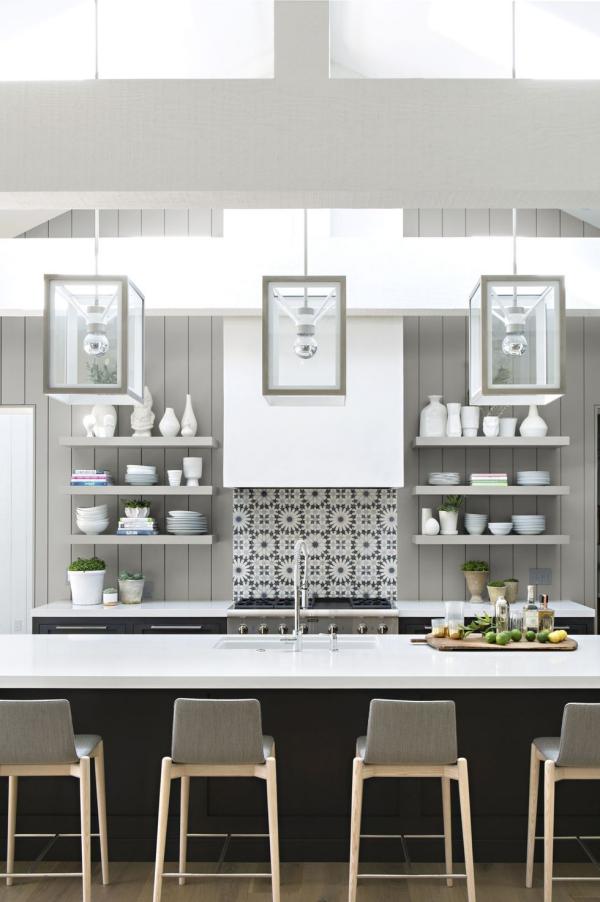 meuble cuisine design mélange de trois couleurs