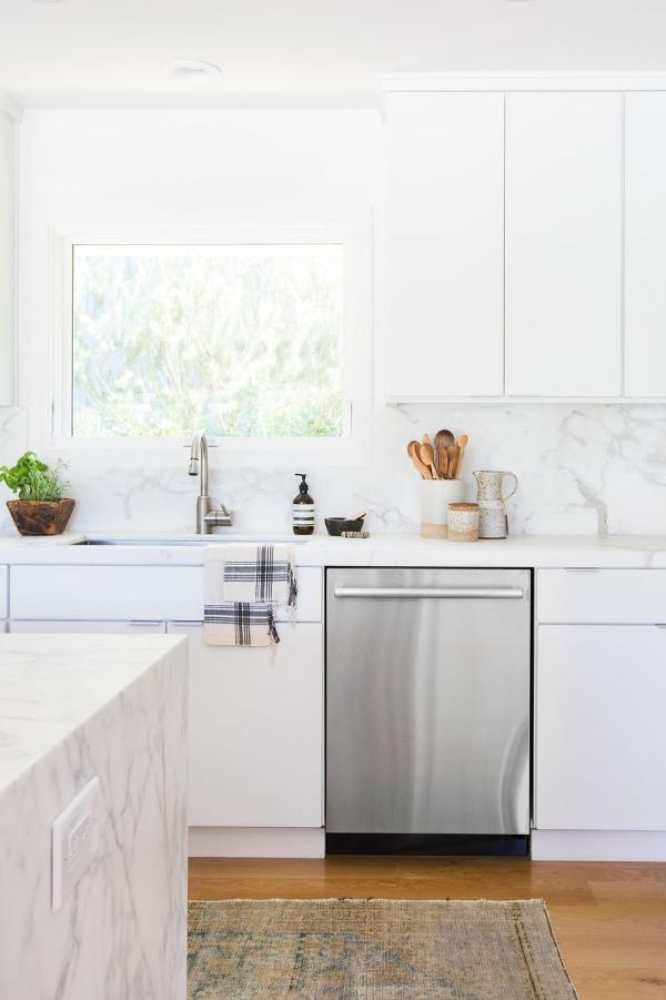 meuble cuisine design marbre blanc