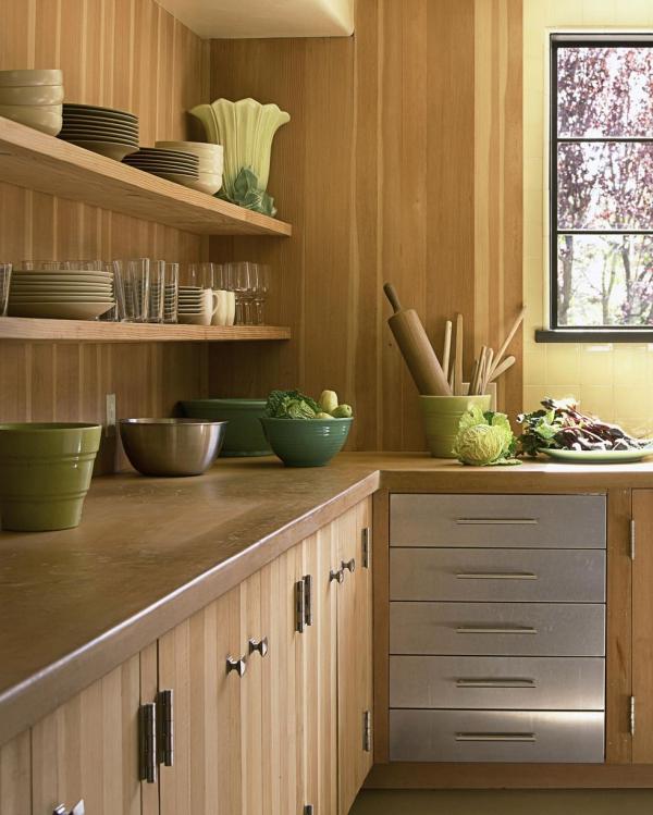 meuble cuisine design mur en bois