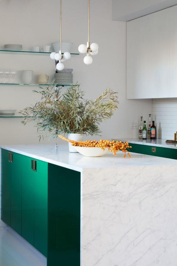 meuble cuisine design vert canard et blanc