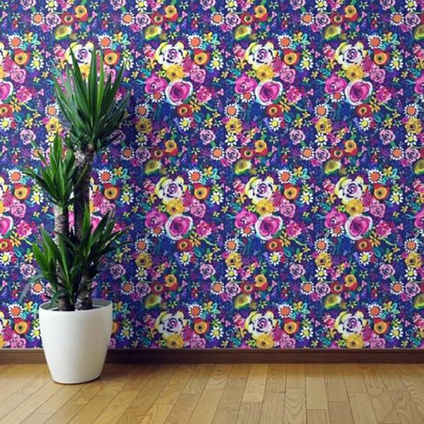 motifs fleurs papier peint tendance 2019