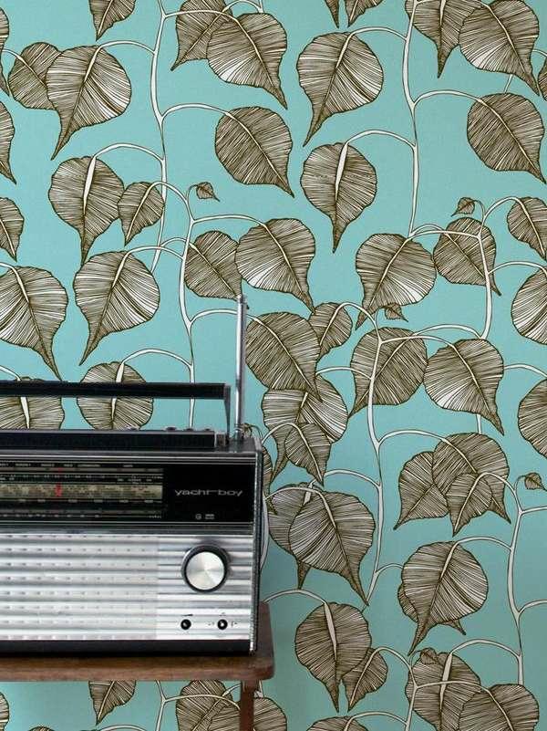 papier peint tendance 2019 éléments végétaux déco