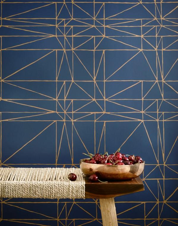papier peint tendance 2019 couleur bleu foncé motifs géométriques