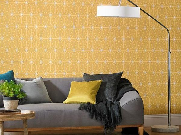 papier peint tendance 2019 motifs géométriques couleur moutarde