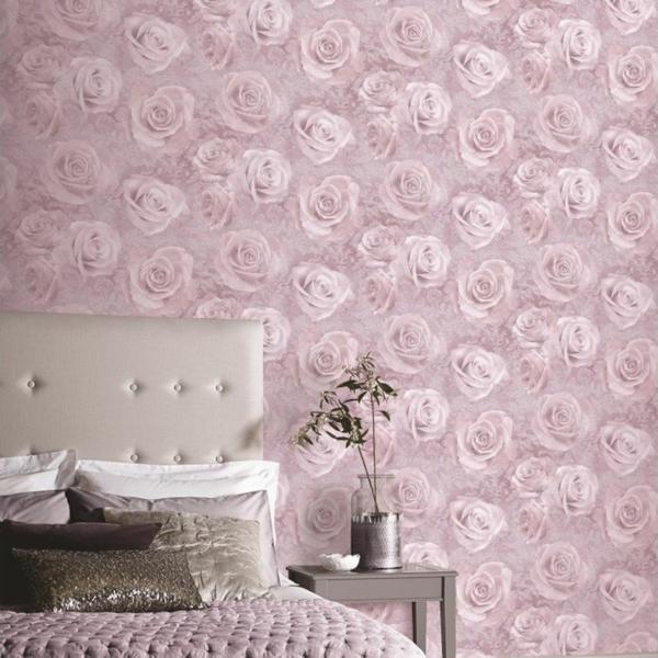 papier peint tendance 2019 rose poudré éléments floraux