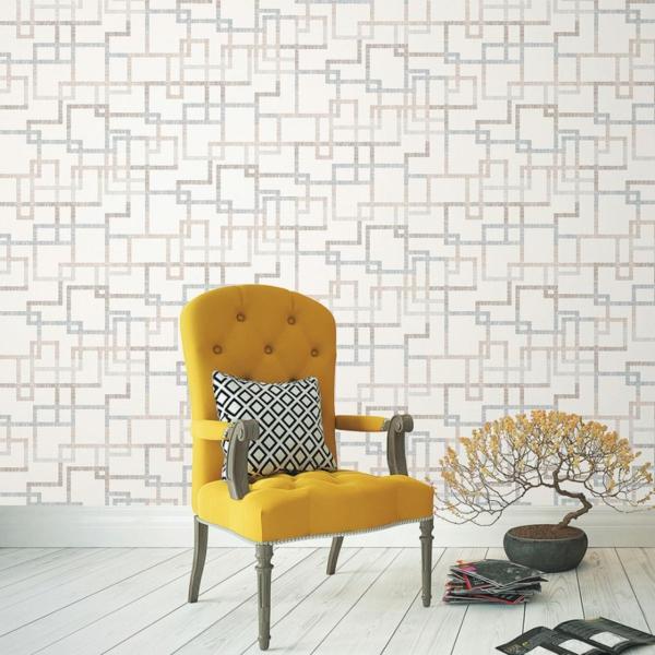 papier peint tendance 2019 style scandinave éléments déco géométriques